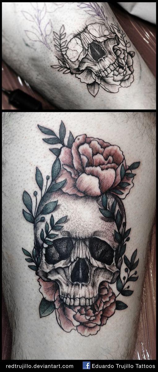 0a196d68e421a skull and flowers tattoo by redtrujillo.deviantart.com on @DeviantArt