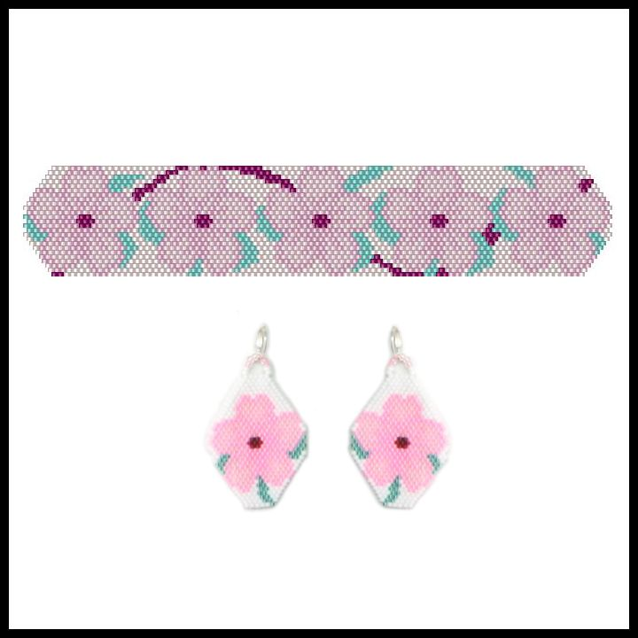 May Cherry Blossom Bracelet & Earrings Pattern From Bead