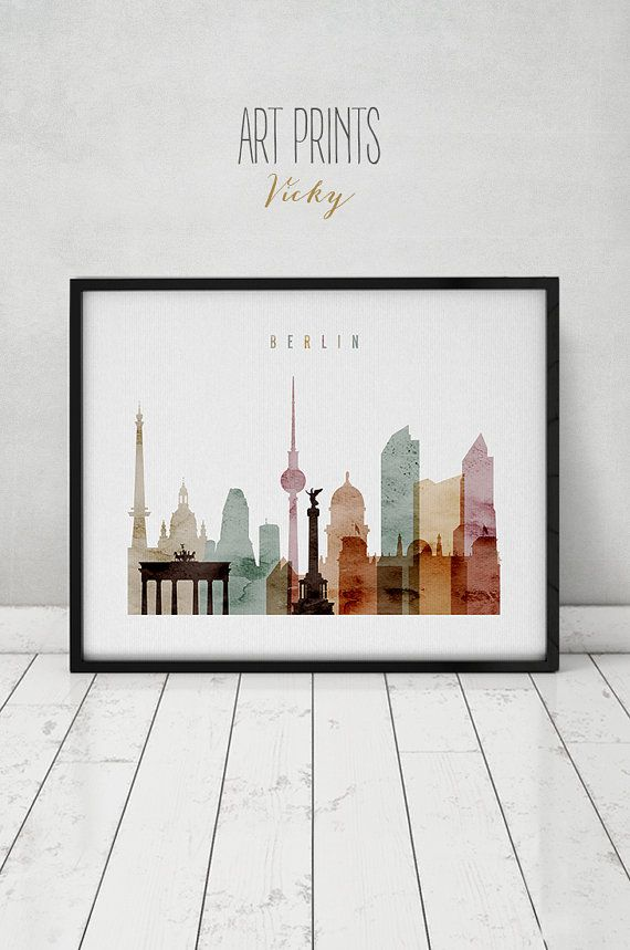 berlin poster print berlin wall art berlin art germany watercolor berlin skyline home. Black Bedroom Furniture Sets. Home Design Ideas