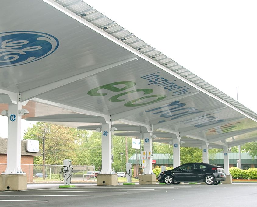 Ge S Solar Carport Solution Combines Several Ge Technologies Including Ge Evergoldtm Combiner Bo Solar Energy Projects Solar Panels Atmospheric Water Generator