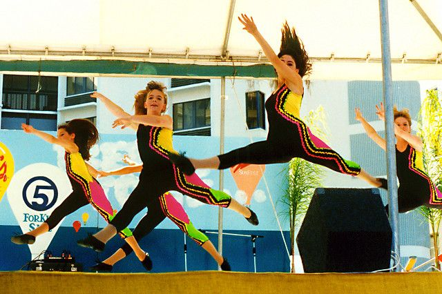 Dancers take a leap during a recital at Sunfest, an arts festival held in downtown West Palm Beach at the time.