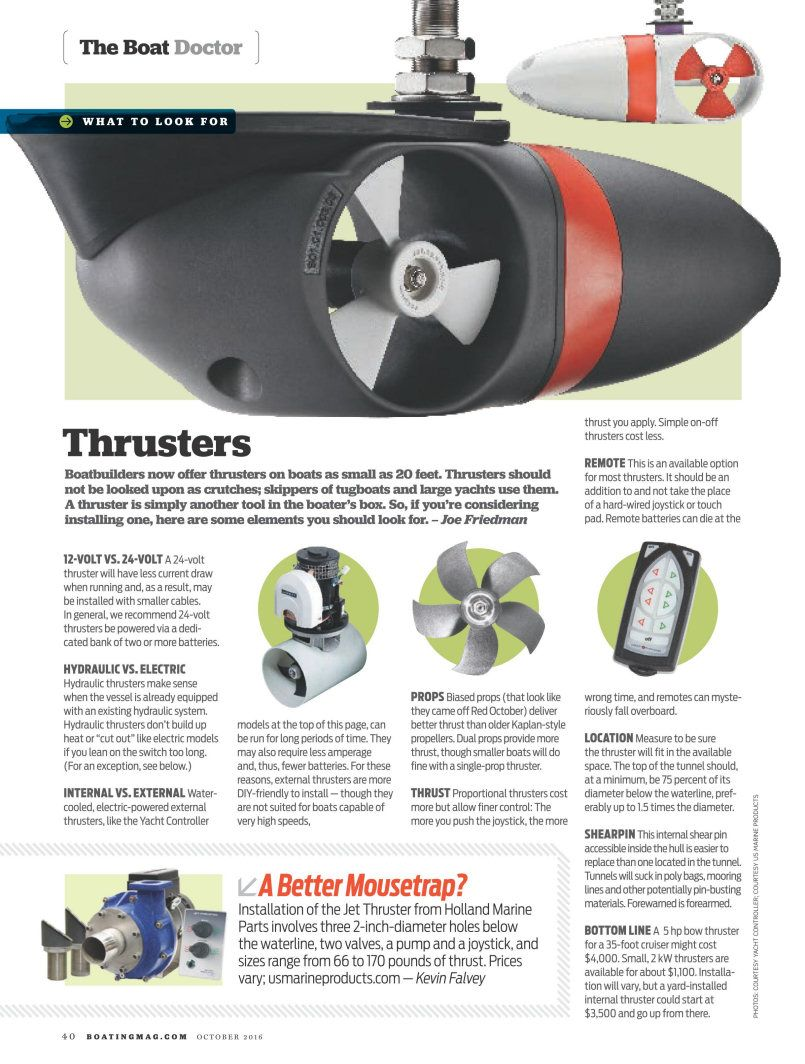 Yacht Thruster On Boating Magazine Powerboat Sailboat Bow And Stern Thrusters Press Www Yachtthruster Com Yacht Power Boats Tug Boats