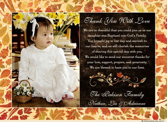 Photo Leafy Baptism Thank You Card Autumn Leaves Wording Baby