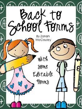 back to school forms freebie free pinterest school forms