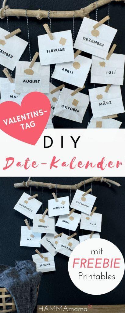 DIY (zum Valentinstag, Vatertag oder Geburtstag) mit Freebie! ° Date-Kalender selber machen ° Ein persönliches Geschenk für den Mann #presentsforboyfriend