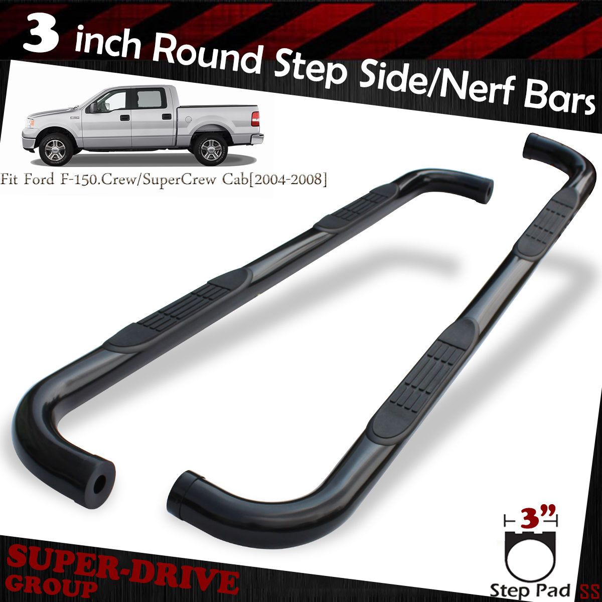 3 tube side step nerf bars rail running board 97 04 f150 f250 super ext cab blk nerf jeep jeep and jeeps