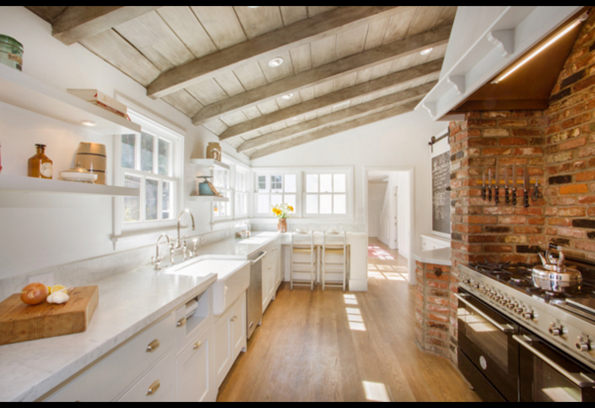 Wood ceilings u exposed brick Kitchens Pinterest Exposed brick