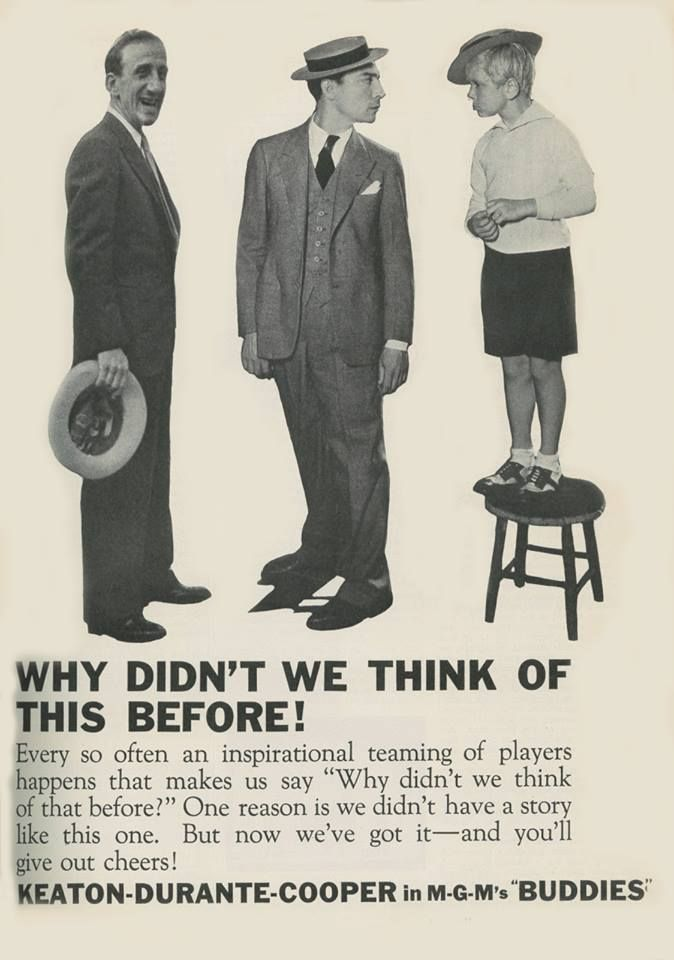 Buster Keaton promotional advertisement for BUDDIES, a film that was never made. With Jimmy Durante and Jackie Cooper (c.1932).
