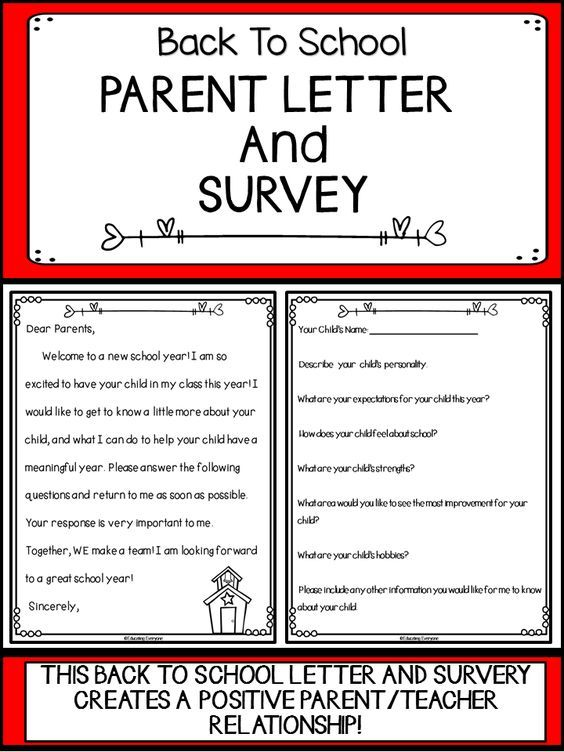 Back To School Parent Letter And Survey  Parent Survey Parents