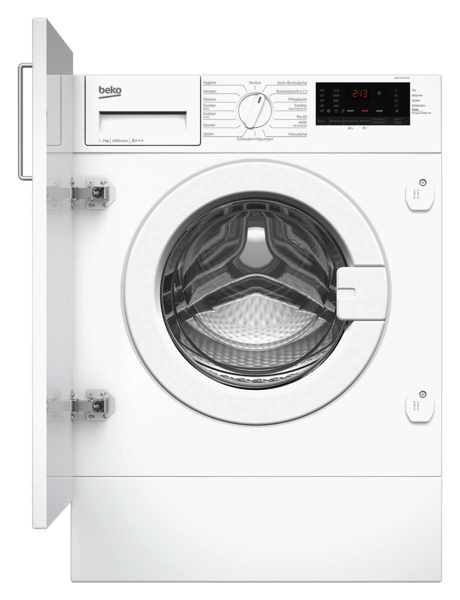 Beko Einbauwaschmaschine Wmi71433pte Waschmaschine Trockner Auf Waschmaschine Und Kuche Schwarz