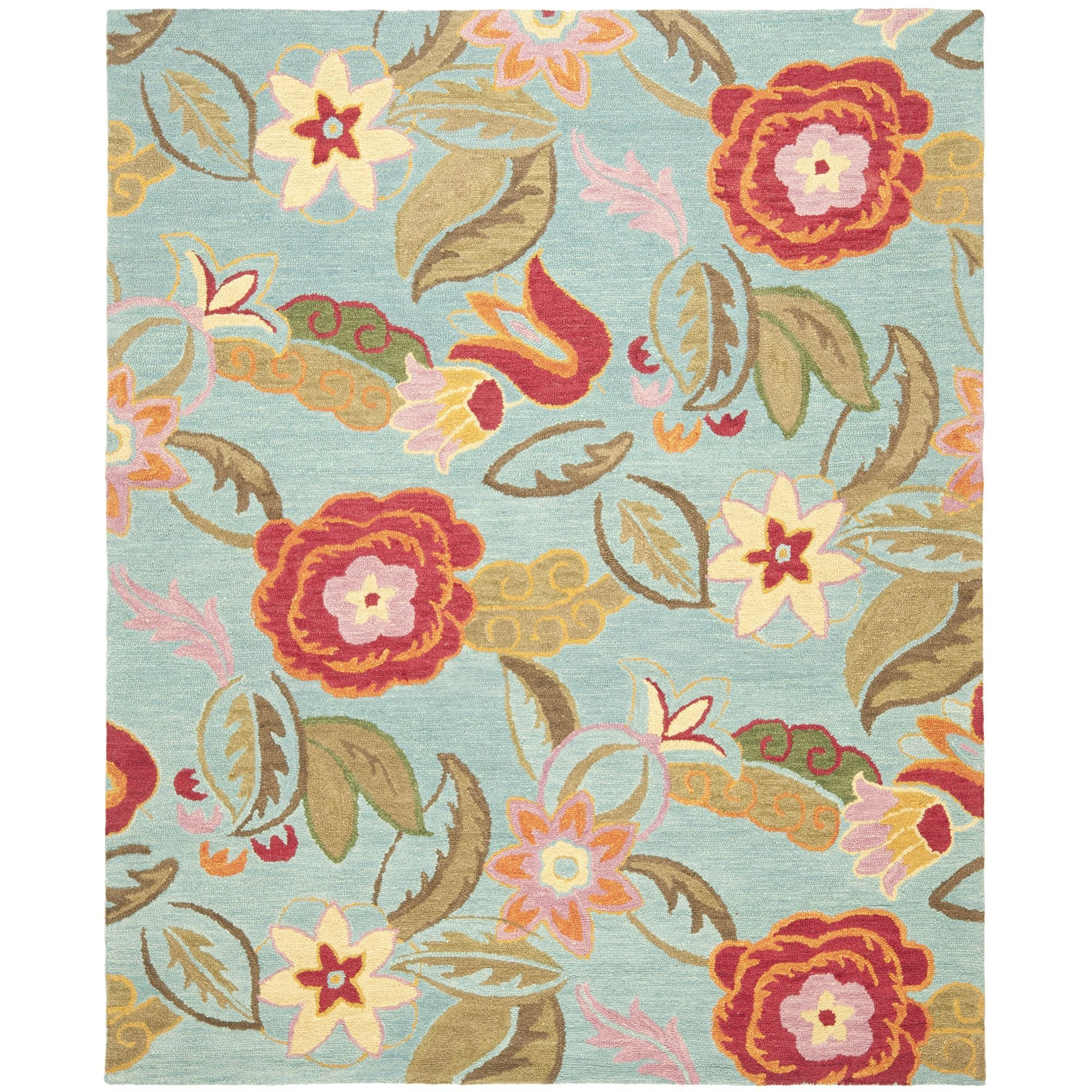 Safavieh Handmade Blossom Blue Wool Area Rug ((8 ft. Square)), Size 8' x 8' (Cotton, Floral)