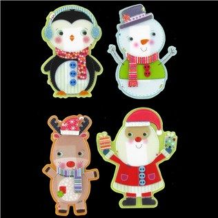 Celebrate The Holidays With These Adorable Little Christmas People Stickers Decorate Paper Crafts With The Penguin Reindeer Santa Or Snowman