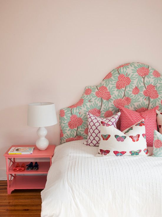 Caitlin Wilson Design Pretty S Room With Pastel Pink Walls And An Upholstered Headboard In