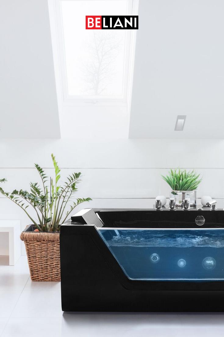 Elegante Schwarze Whirlpool Badewanne In 2020 Badewanne Mobel Online Shop Whirlpool Badewanne
