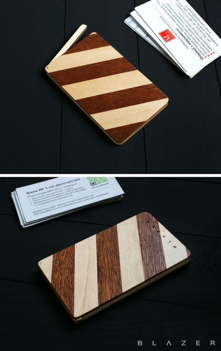 Blazer Wooden Business Card Case For 15 20 Business Cards