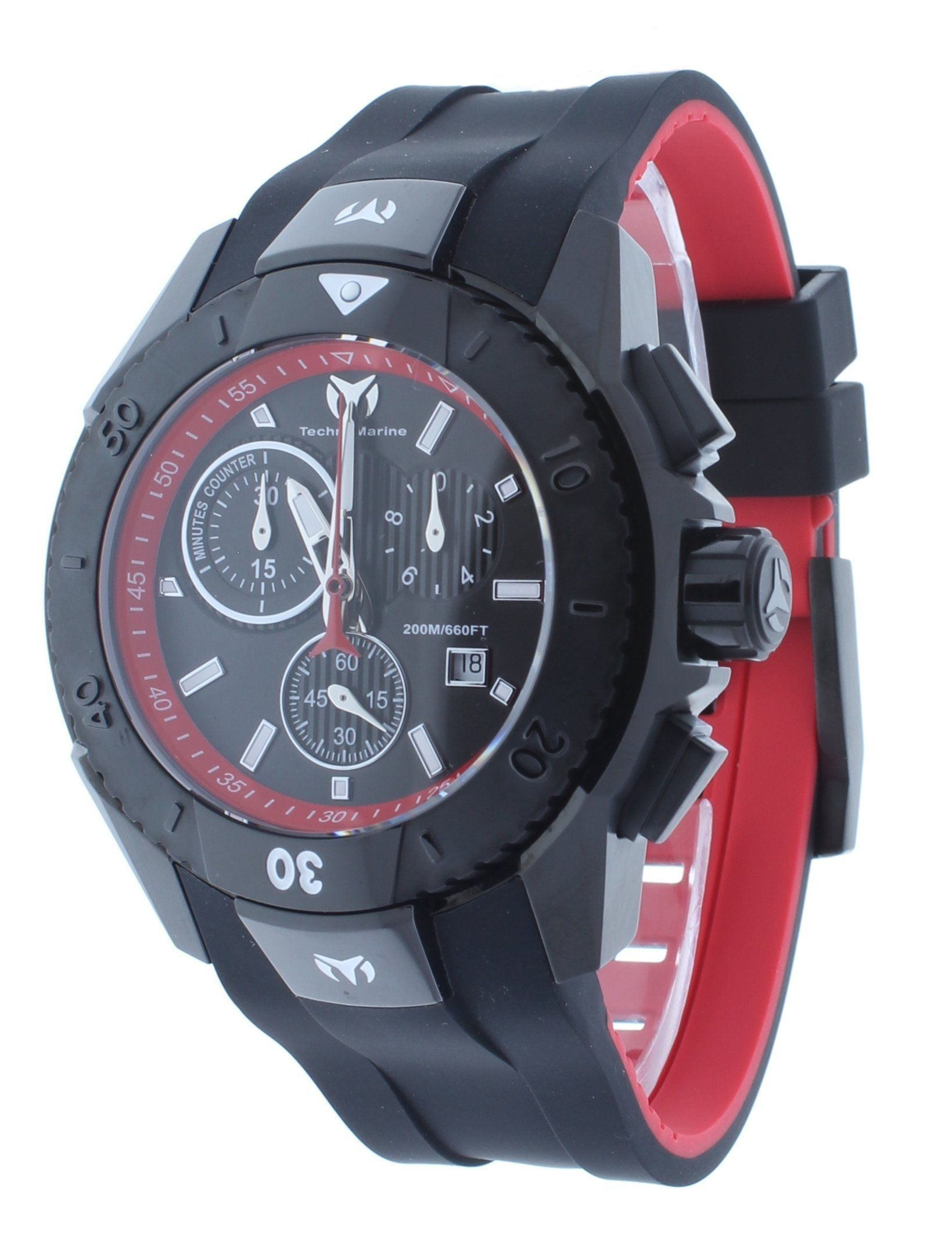 0ea0fe9e1bea Technomarine TM-616002 Men s Watch UF6 Black Red Swiss Chronograph Black  Rubber Strap