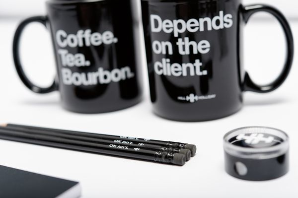 Coffee. Tea. Bourbon. Depends on the client. Funny