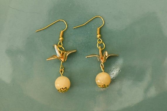 Photo of Origami Crane Earrings Golden Japanese  Origami 3D  Origami Design Gold Crane Natural Untreated Yell