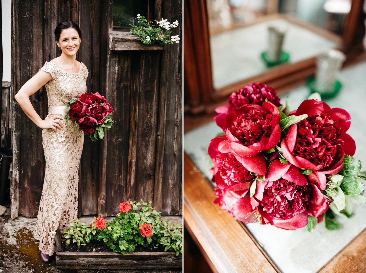 Beautiful flower bouquet of a scottish american wedding in the austrian alps