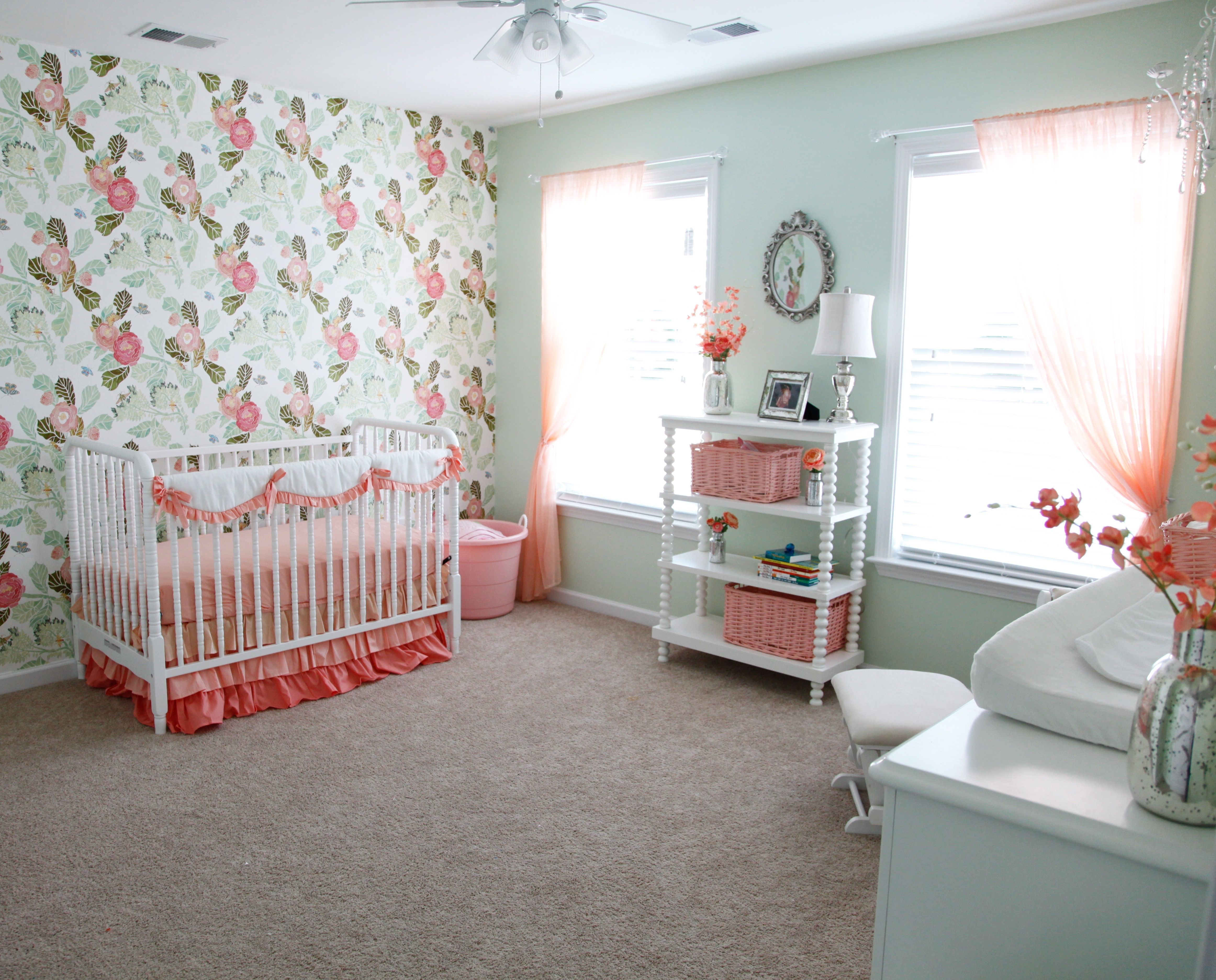Baby girl nursery! Antropologie watercolor floral peony