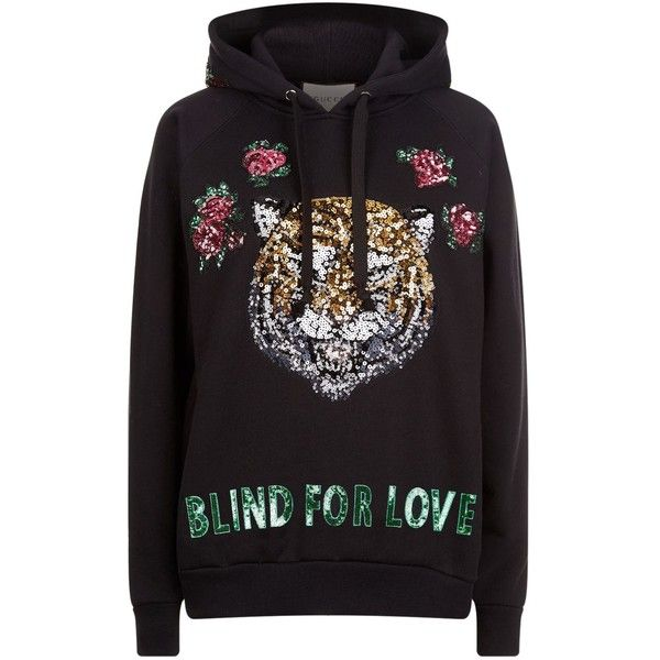 Gucci Tiger Embroidered Sweatshirt ($1,555) ❤ liked on Polyvore featuring  tops, hoodies,