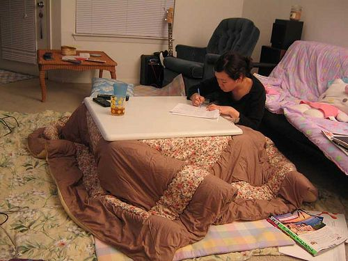 Kotatsu by justindoub, via Flickr  Example of where to place a kotatsu (Japanese heated low table) in a Western style living room