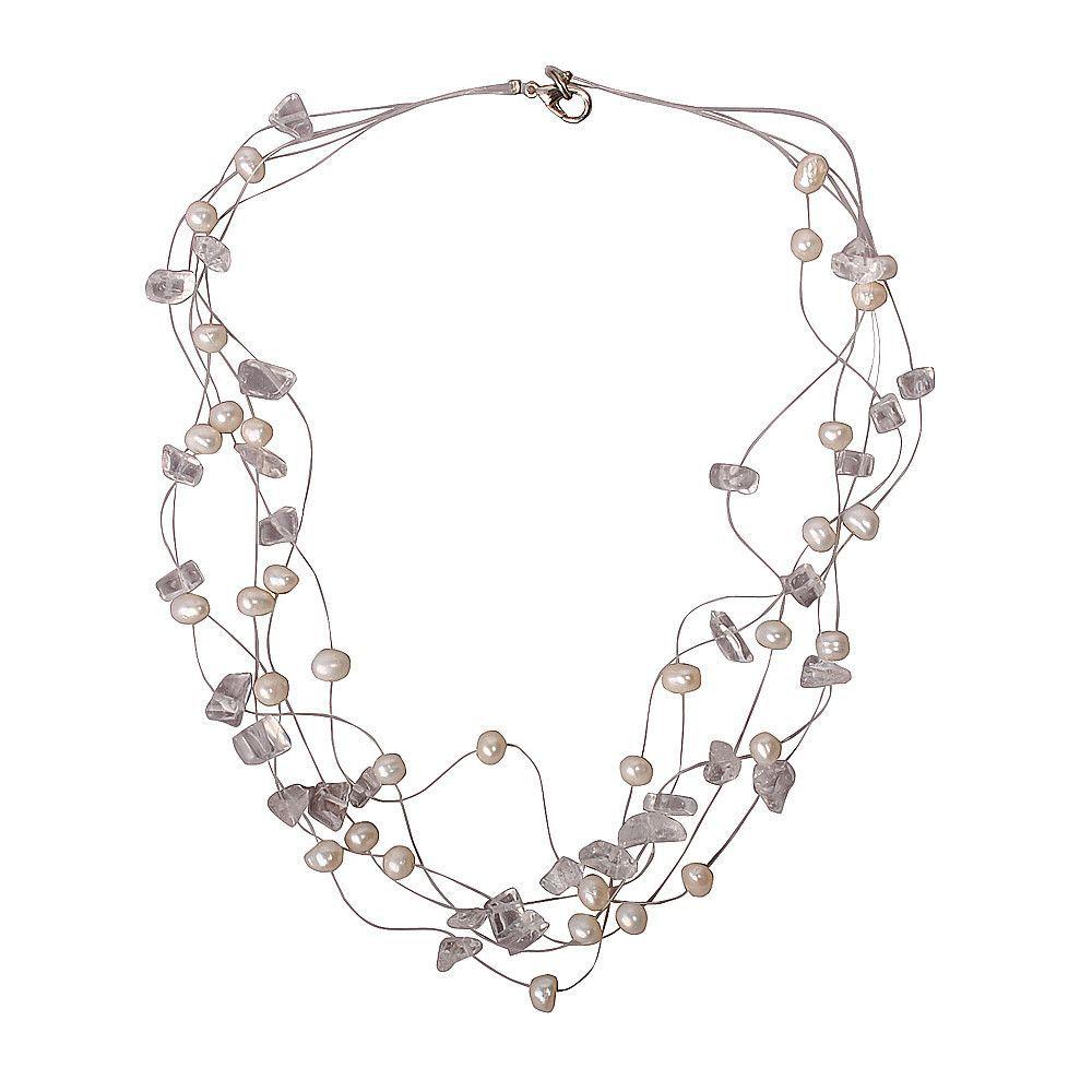 White Pearl Wedding Jewelry for Women Bib Necklace