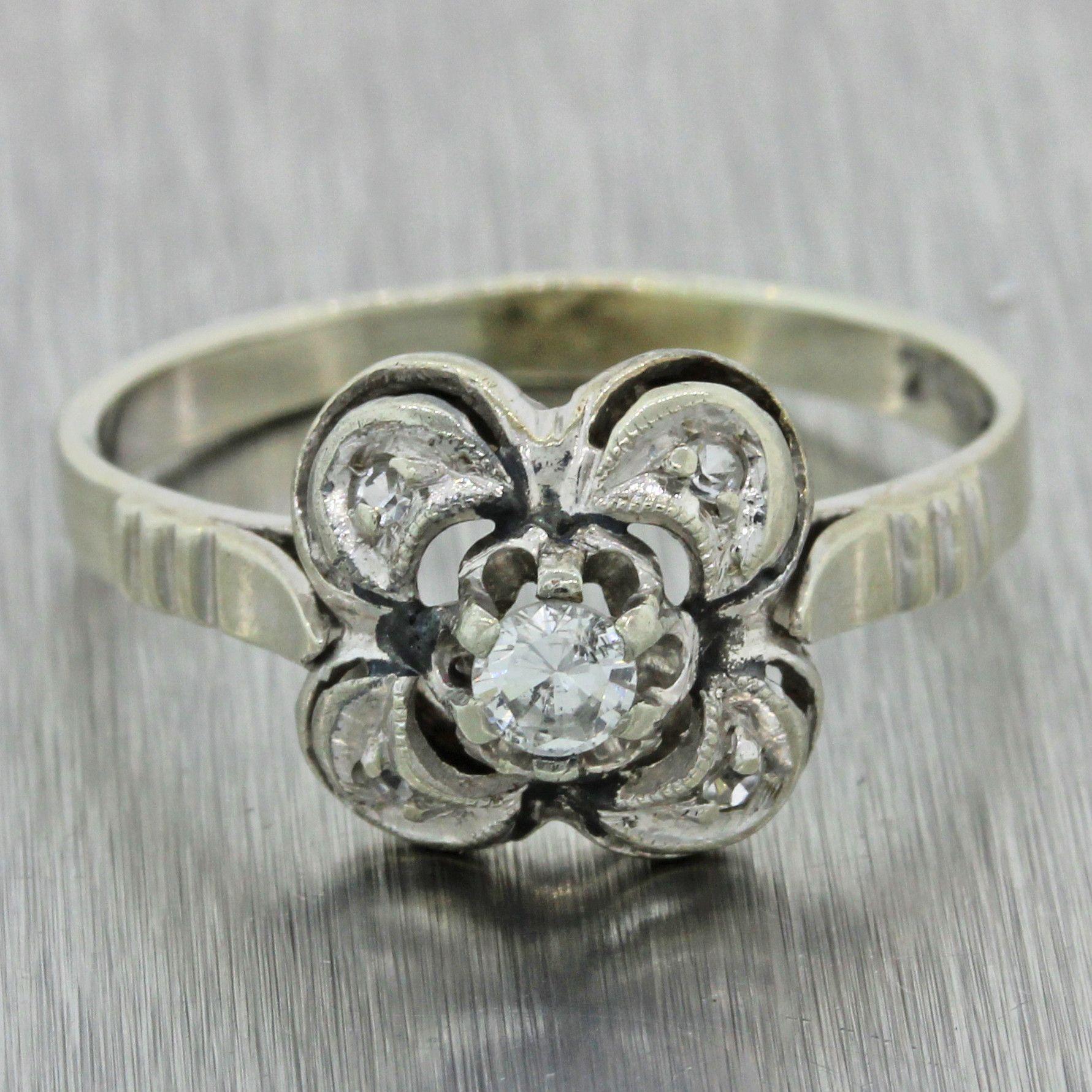 1960s Vintage Estate Art Deco Style 14k Solid White Gold .20ctw Diamond Ring
