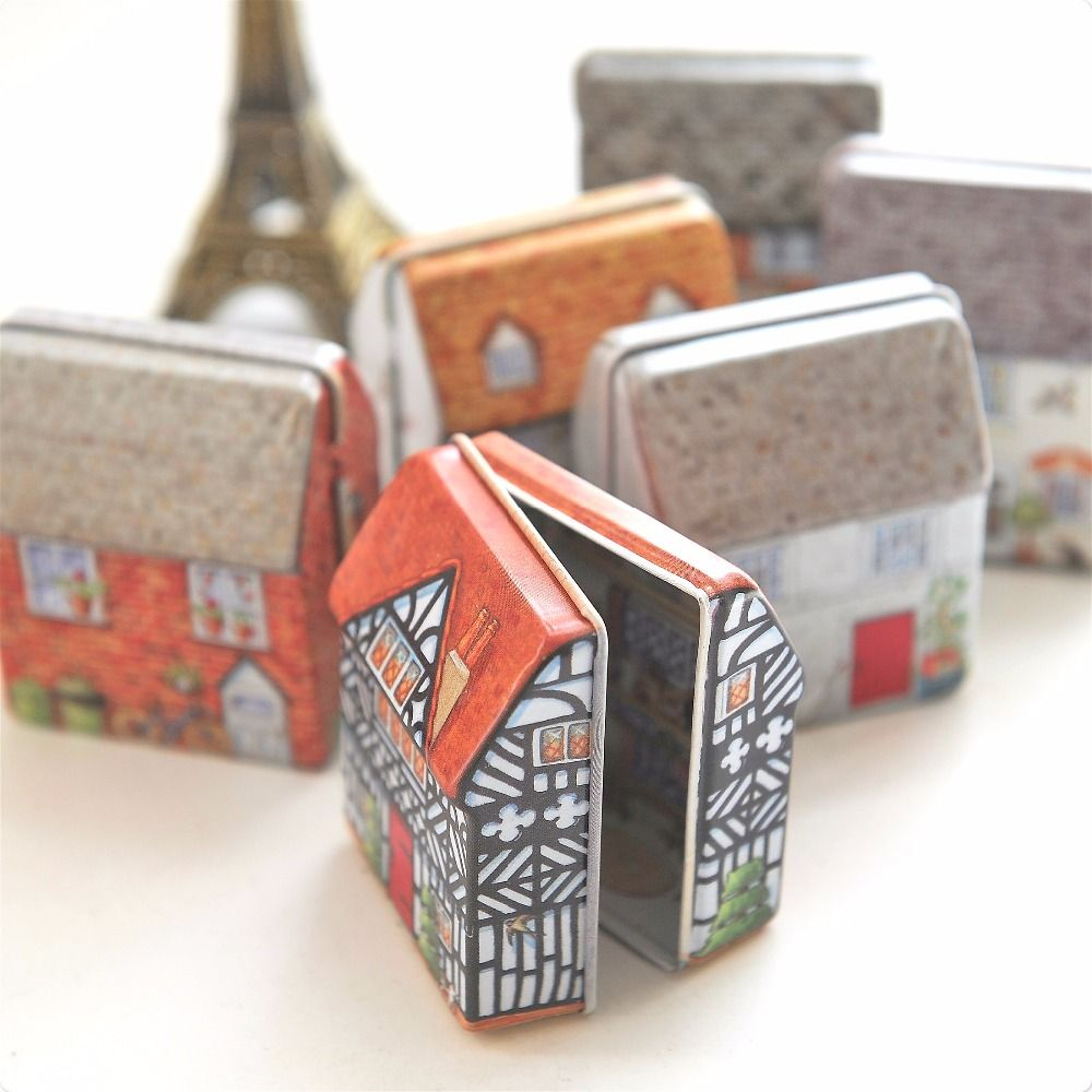 d524ca9828eb Mini Vintage House Tinplate Shape Storage Tin Box Coin Bag Jewelry ...