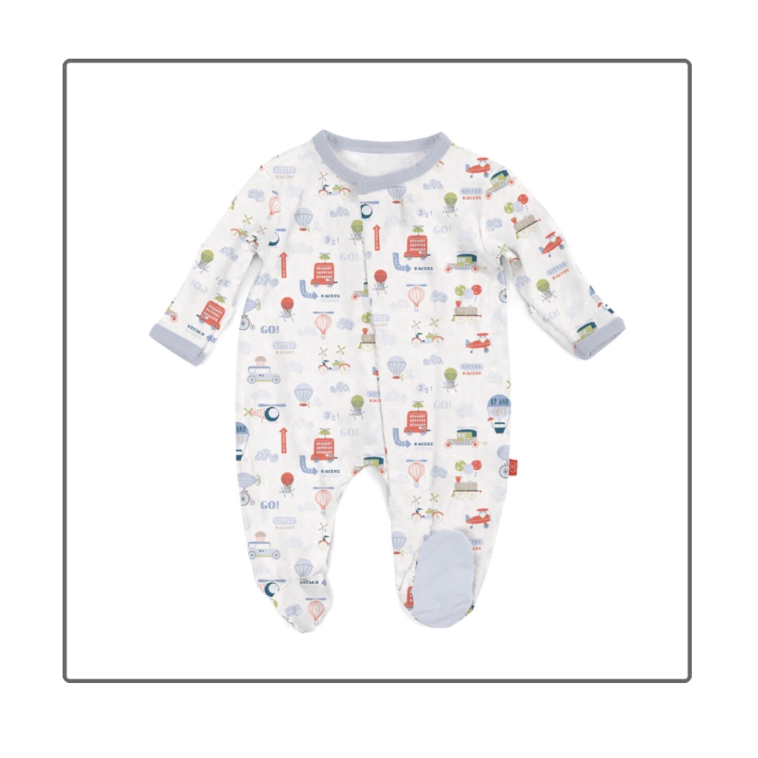 Magnificent Baby Baby Magnetic Embroidered Footie and Hat Set