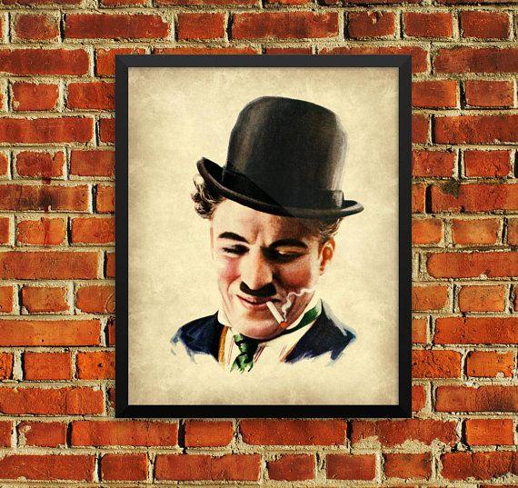 Charlie Chaplin The Little Tramp Smoking Wall Art Poster Print ...