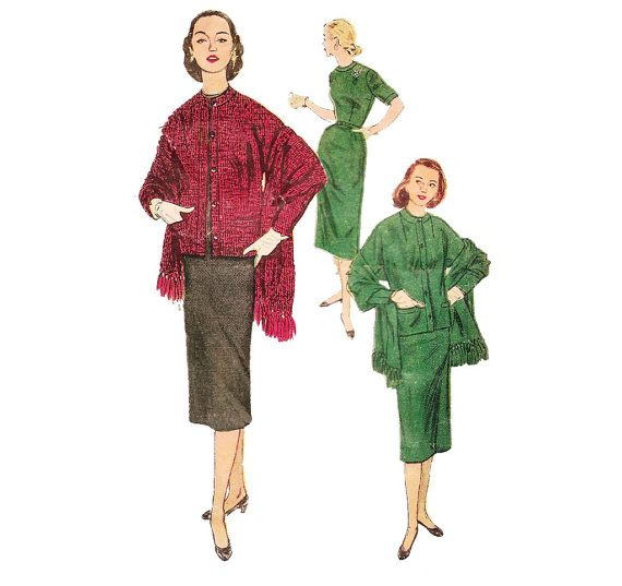 1950s Juniors Womens Dress Jacket Stole - Simplicity 4389 Vintage Pattern - 33 Bust