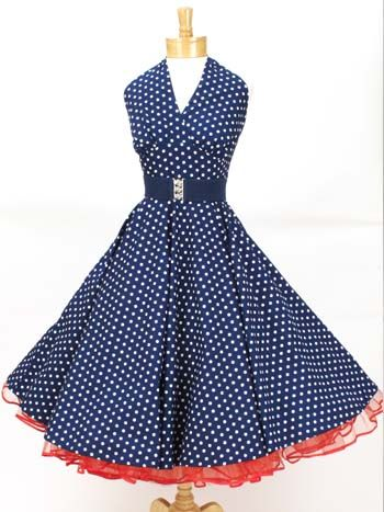 68b73b94a04 Classic Dame 50 s Style Navy White Polka Dot Halter Swing Dress ...