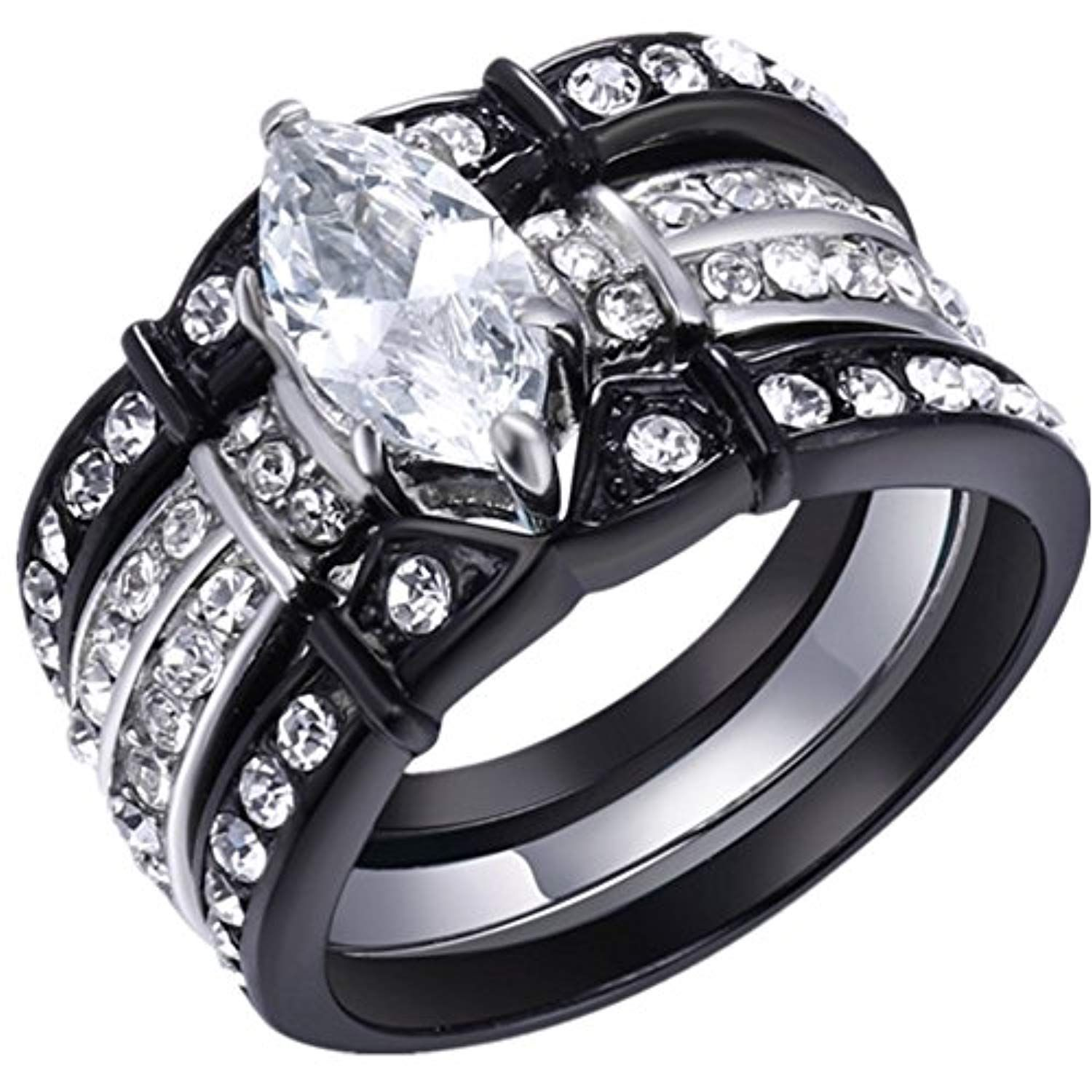 Black wedding ring set stainless steel marquise cubic