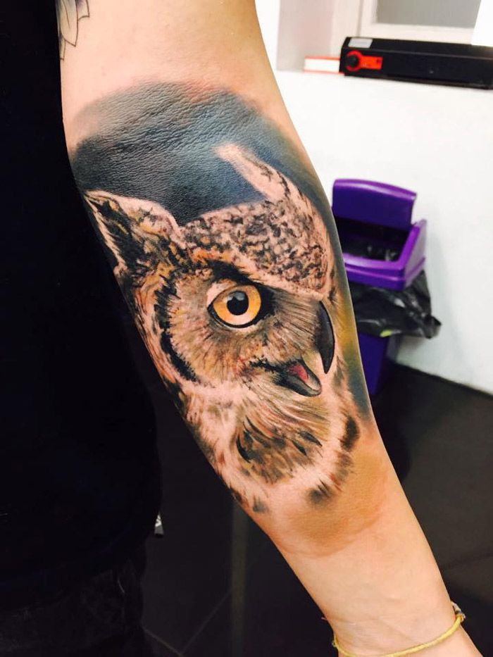 Tattoo by Bloodlines Gallery | Realistic owl tattoo, Owl skull ...