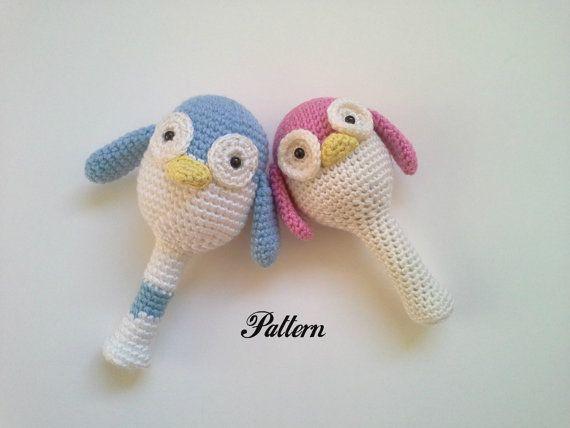 Amigurumi Rattle Free Pattern : Pattern penguin baby rattle crochet rattle penguin by monoblanco