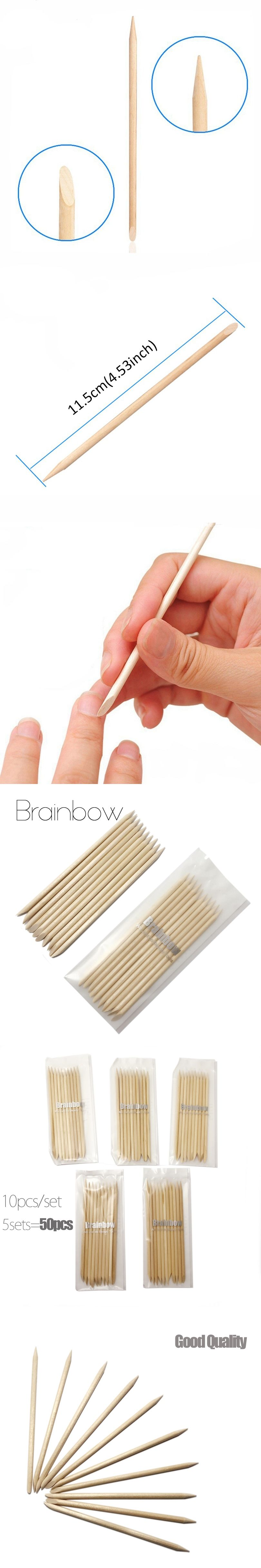 Brainbow 50pcs Nail Art Orange Wood Stick Cuticle Pusher Remover for ...