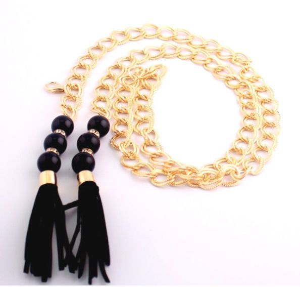 Women'S Fashion Golden Metal Chain Chunky Beads Tassels Rope Waist Chain Belts