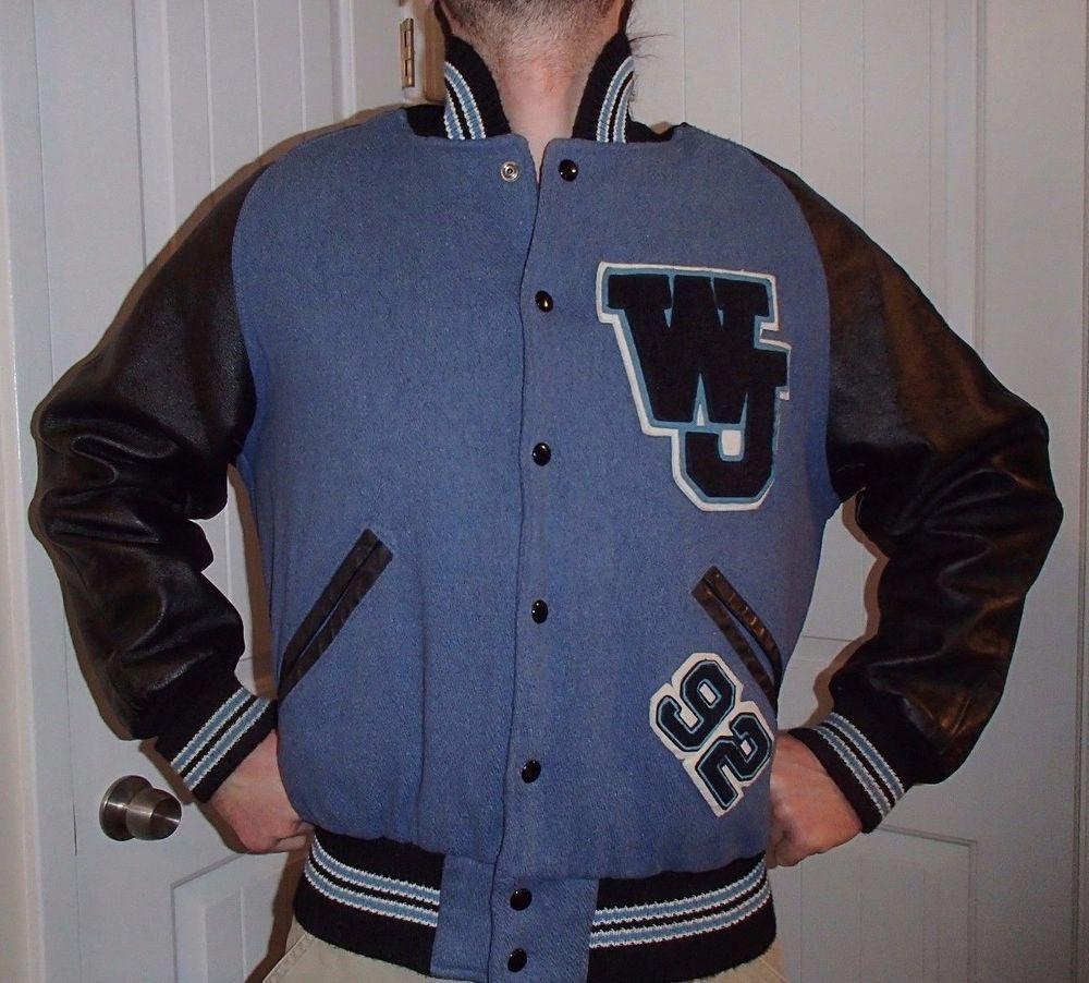 Vtg ripon varsity letterman wool jacket coat blue u black mens