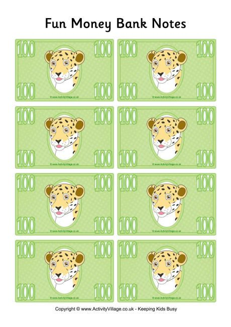 Fun money banknotes 100 busy kids printables free printable play money to use with home made games and learning games in the classroom and home gorgeous animal notes in many denominations pronofoot35fo Choice Image