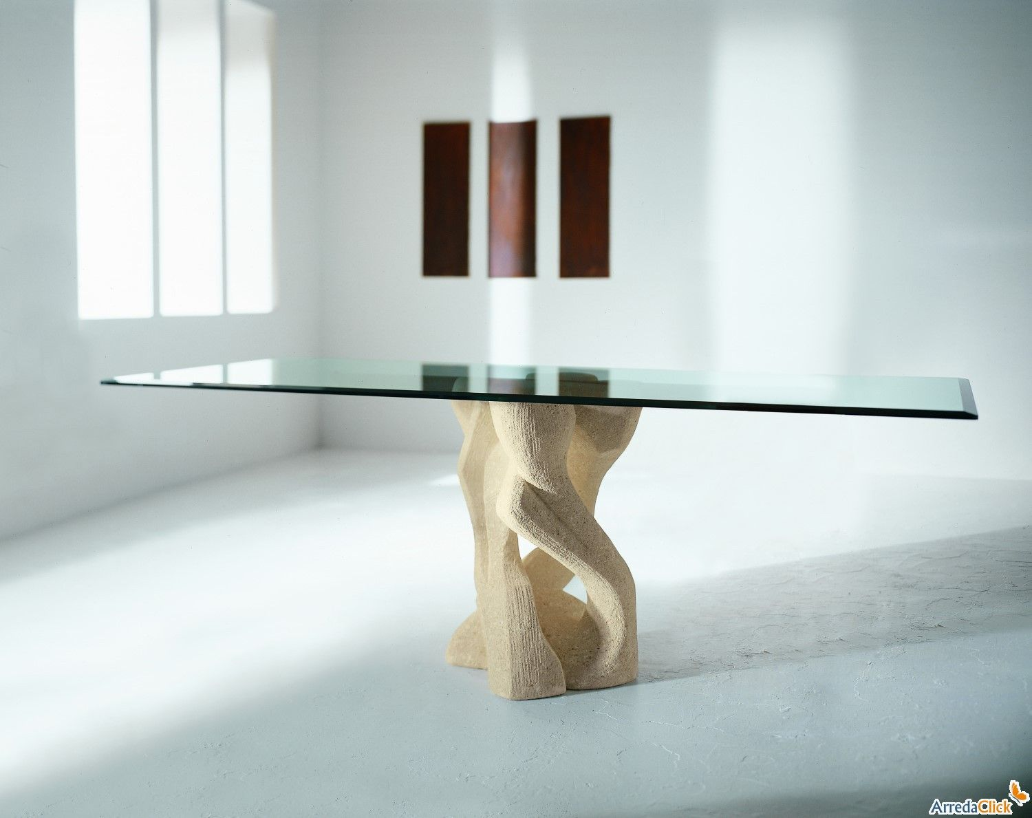 Alex Glass Table With Central Stone Base Arredaclick Glass