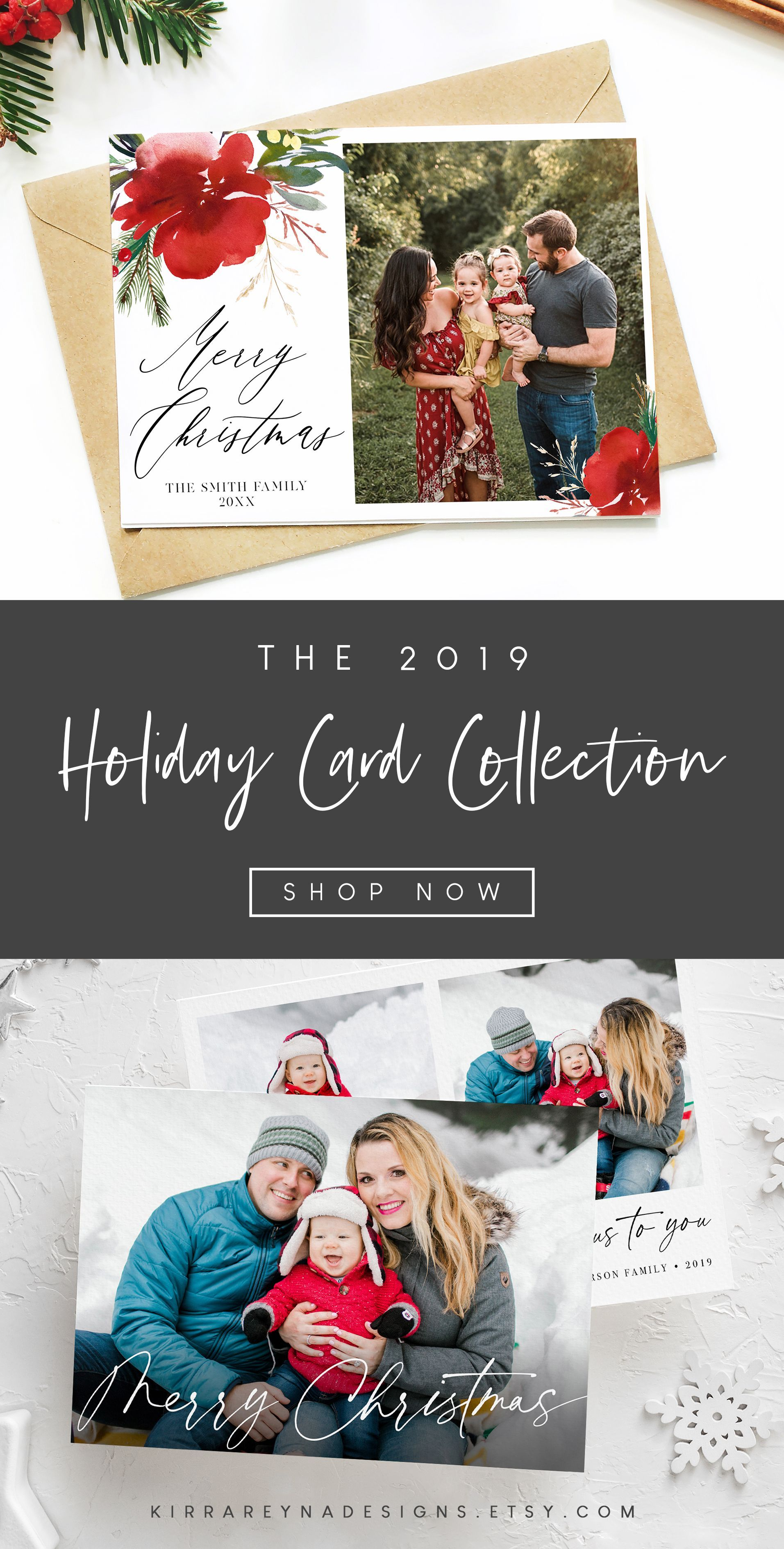 Christmas Card Ideas With Family Photo In 2020 Diy Holiday Cards Modern Christmas Cards Watercolor Holiday Cards