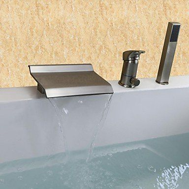 Yodel Single Handle Waterfall Bathroom Sink Faucet Brushed Nickel