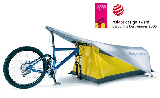 """Bikamper by Topeak is a personal shelter that utilizes a 26"""" mountain or 700c road front wheel in place of tent poles."""