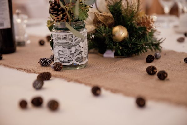 Pine Cones Lace Cosy Winter Christmas Seaside Wedding http://kerryannduffy.com/