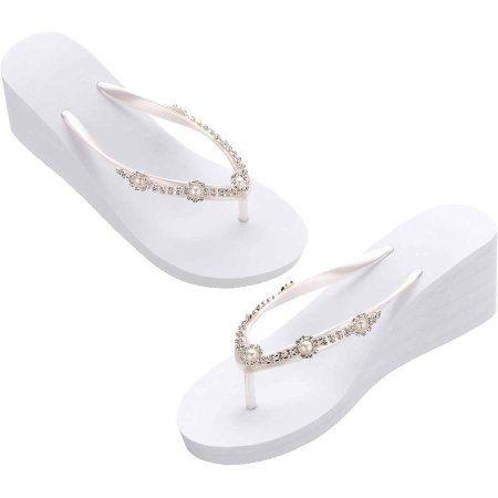 58e9ab34703350 Lillian Rose White Pearl Rhinestone Wedge Flip Flops