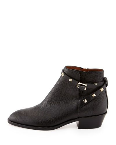 9a132f0478c25 Red Valentino Rockstud Strappy Ankle Bootie, Black, Size: 35.5B/5.5B, Nero