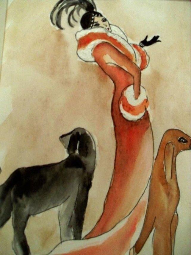 Acrylic Painting Vintage Lady Walking her dogs, Red Orange Black Art ...