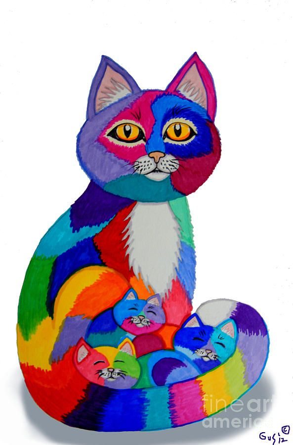 Cat Drawing Cat And Kittens 2 By Nick Gustafson Kitten Drawing Cat Colors Cats Illustration