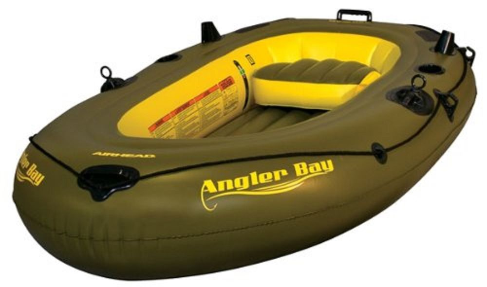 AIRHEAD ANGLER BAY Inflatable Boat 3 Person 2 rod holders molded drink holds New